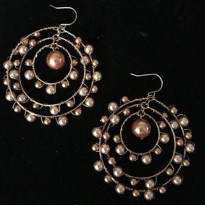 Bronze Pearl Bead Wire Hoop Earrings